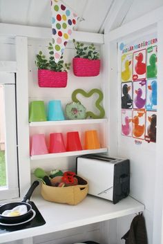 Browse through more creative and fun projects! Inside Playhouse, Backyard Playhouse, Playhouse Ideas, Cubby Houses, Play Houses, Playhouse Interior, Kids Cubbies, Wendy House, Kitchen Corner