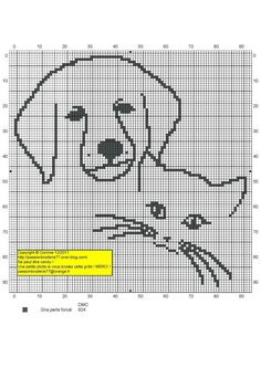 chien - dog - broderie - cross stitch - Chien et Chat - Point de croix - Blog : http://broderiemimie44.canalblog.com/
