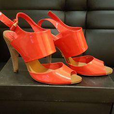POSH FEST 2015 HOST PICK  BCBG LACEY,  sandal Poppy(orange) patent, peep toe sandal with wood heel, kept in original box, in good condition BCBGMaxAzria Shoes Heels