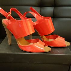 POSH FEST 2015 HOST PICK  BCBG LACEY,  sandal Poppy(orange) patent, peep toe sandal with wood heel, kept in original box, in good condition BCBGMaxAzria Shoes Heels