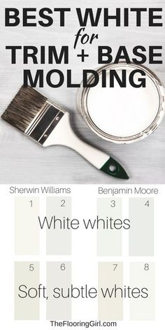The best white paint shade for trim and base molding Best Paint For Trim, Best White Paint, White Paints, White Paint For Trim, Painting Molding, Painting Trim, Best Wood Stain, Wood Stain Colors, Trim Paint Color