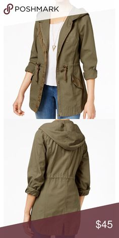 American Rag Military-Style Lightweight Anorak American Rag's hooded, military-style anorak features nylon panels and pocket trims with drawstring cinching around waist for a defined fit. Lightweight, unlined and perfect for fall/spring. In like new condition! Worn once!  Size XS Junior TTS Fits 0/2 32-34A/B  Cotton; Contrast: Nylon  Machine Washable   Attached hood with drawstring   Zipper closure w/snap button overlay  Long sleeves can be rolled  Flap pockets at waist  Contrasting fabric…