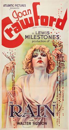 RAIN (1932) - Joan Crawford - Walter Huston - Directed by Lewis Milestone - MGM - Movie Poster.