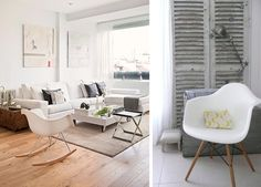 Décoration idée inspiration avec chaise fauteuil à bascule de table RAR pied bois design Eames blanc salon bureau style scandinave shabby où acheter