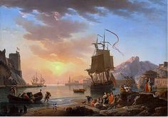 Claude Joseph Vernet Art | Claude Joseph Vernet , Marine, Setting Sun