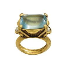 Gemstone Ring, Byzantine, 12th–13th century. Made in Constantinople. Gold, aquamarine, pearl. Height 39.5 mm.; hoop inner diam. 19.5 mm.; hoop outer diam. 26 mm.; bezel 23.5 x 19 mm.; weight 39.5 gr.. Griffin Collection, L.2015.72.4 © 2000–2017 The Metropolitan Museum of Art.