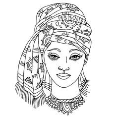 Vector hand drawn portrait of a young african american for African american bible coloring pages