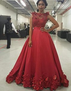 Gorgeous Red Sheer Applique Beads Prom Dresses Sleeveless A Line Rose Petals Floor Length Evening Gowns South African Party Dresses African Party Dresses, African Wedding Dress, African Dress, Lace Evening Dresses, Elegant Dresses, Evening Gowns, Wedding Robe, Wedding Dresses, Prom Dresses Under 100
