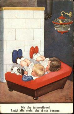 by John Willy postcard) Children Reading, Reading Books, I Love Books, Good Books, Children's Book Week, Reading Buddies, Illustrations Vintage, Precious Children, Love Illustration