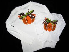 pumpkin applique shirt cute...love the ribbon in place of stem!