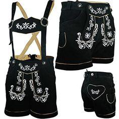 PAULGOS Damen Trachten Lederhose --- Echtes Leder --- Schwarz --- Kurz M2