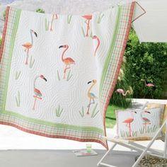 Flamingo Appliqued Quilt - Kids Decorating Ideas