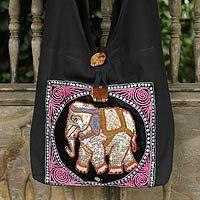 Cotton sling tote bag, 'Pink Elephant' - Sequined Cotton Shoulder Bag Handmade in Thailand