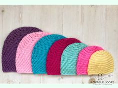 Free basic beanie crochet pattern for all sizes; Pattern has been designed and measured to fit each size as perfectly as possible. Crochet Pattern Free, Crochet Hat Sizing, Beanie Pattern Free, Crochet Baby Hat Patterns, Crochet Baby Beanie, Crochet Beanie Pattern, Crochet Ideas, Crochet Projects, Crochet Stitches