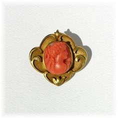 Art Nouveau gold Coral cameo brooch