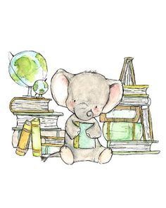 Childrens Art Bookish Elephant Art Print by trafalgarssquare, $10.00
