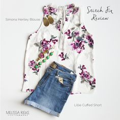 Summer Fix! Dress down a floral blouse with jean shorts for a casual everyday look.