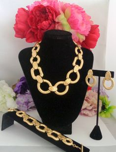 15% off $195 with the Coupon Code 61817 Vintage Givenchy Goldtone Mint Condition 3 Piece Logo Jewelry Set. Necklace, Bracelet and Clip On Earrings.at www. CCCsVintageJewelry.com plus Free First Class Shipping to the United States
