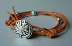 Leather Wrap Bracelet  Marigold and Silver by SticksAndStonesGifts, $7.95