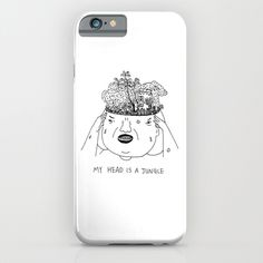 My head is a jungle. #illustration #doodle #art #drawing #pen #bnw #blackandwhite #bw #mono #society6 #s6 #head #phone #iphone #iphone5 #iphone5s #iphone6 #iphone6plus #case