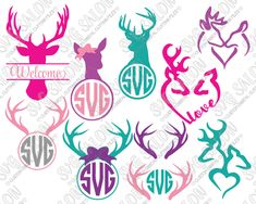 Hunting Deer Antler Circle Monogram Frame Custom DIY Cutting File Set in SVG, EPS, DXF, JPEG, and PNG Format