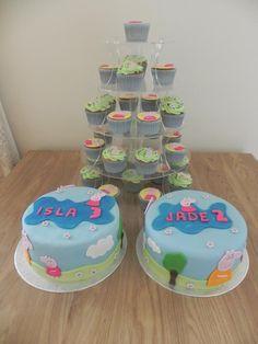 Peppa Pig birthday cakes and cupcakes - all vanilla.