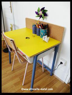 Bureau acier et bois pour enfant Pergola, Drafting Desk, Office Desk, Furniture, Design, Home Decor, Steel, Desk, Kid