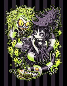 Strange and Usual by Jehsee Beetlejuice Halloween Canvas Art Print –…