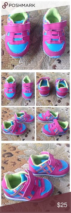 Osh Kosh Genuine Baby Pink Sneakers Shoes 3 Genuine Baby from Osh Kosh. Super cute colourful sneakers. Pink, blue, purple, yellow and green. Velcro closure. Great condition. Minor scuffs on one side, should wash off but I didn't wash any of the baby shoes! Size 3. Osh Kosh Shoes Sneakers