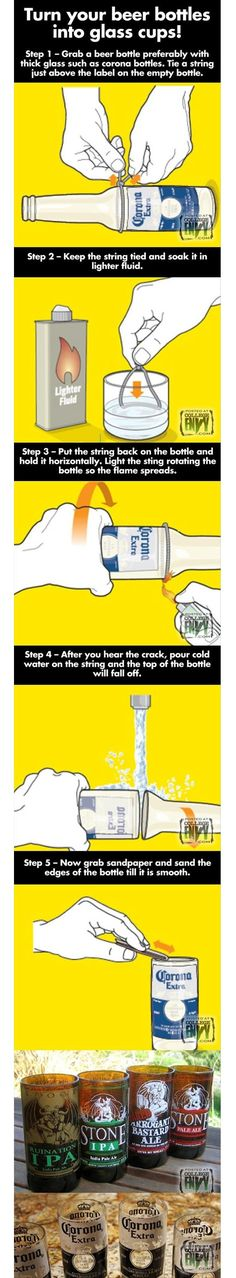 5 Steps To Your Turn Beer Bottles Into Glass Cups...Genius