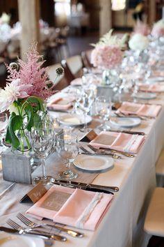 real wedding table decor, pink wedding table decor, flower ideas for table decor