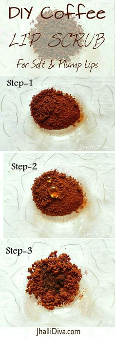DIY Coffee Lip Scrub which needs only 3 ingredients and is easy to do. Coffee is a great natural exfoliator. Vegan sugar scrub to get rid of chapped & cracking lips. Homemade DIY sugar scrub for soft and smooth lips.
