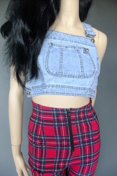 overall top, crop top, jean top, halter by vintage2049 on Etsy