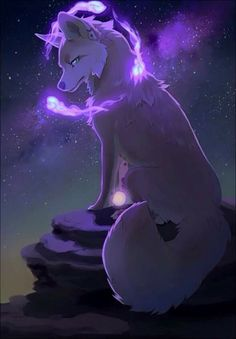 anime wolf Blazelight white wolf blade and strong fighter and has purple plasma Artwork Lobo, Wolf Artwork, Pet Anime, Anime Animals, Anime Art, Arte Furry, Furry Art, Mythical Creatures Art, Fantasy Creatures