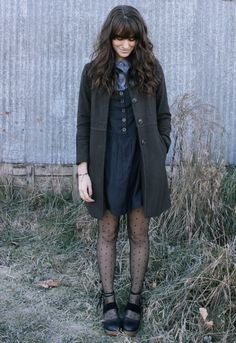 The Moptop- polka dot tights, long coat, denim dress- love the whole outfit