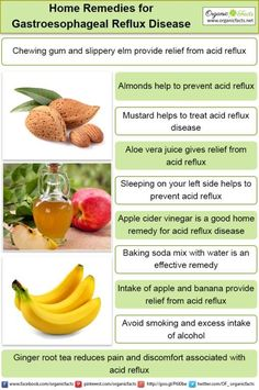 Some of the most effective home remedies for gastroesophageal reflux disease include the use of baking soda, Aloe vera juice, chewing gum, almonds, apple cider vinegar, chamomile, slippery elm, ginger tea, and mustard, as well as certain lifestyle changes, like quitting smoking, cutting down on drinking, sleeping on your left side, and maintaining a healthy weight.