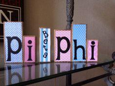 Pi Beta Phi sorority handmade wooden blocks by BoardsbyKelly on Etsy