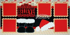 Scrapbook Page Kit Christmas Believe Santa Boy Girl Baby 2 page Scrapbook Layout 112 by PageKitEmporium on Etsy https://www.etsy.com/listing/169006327/scrapbook-page-kit-christmas-believe