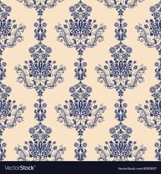 Floral border ornament. Damask seamless pattern for design. Download a Free Preview or High Quality Adobe Illustrator Ai, EPS, PDF and High Resolution JPEG versions.