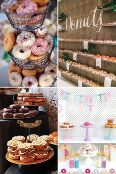donut bar food station   a delicious new wedding foodie trend   See more great wedding food ideas on www.onefabday.com