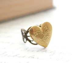 Heart Locket Ring Adjustable Ring Novelty Love by apocketofposies