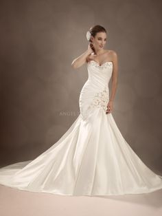 Fit N Flare Satin Sweetheart Floor Length Bridal Gowns With Beading