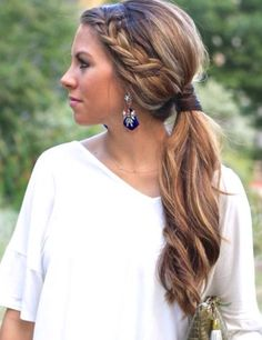 Make your ponytail not so boring with a braid.
