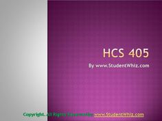 Introduction The HCS 405 week 1 financial terms worksheet throws light on some of the most basic concepts of the healthcare business. Understanding health care financial terms is a prerequisite for...