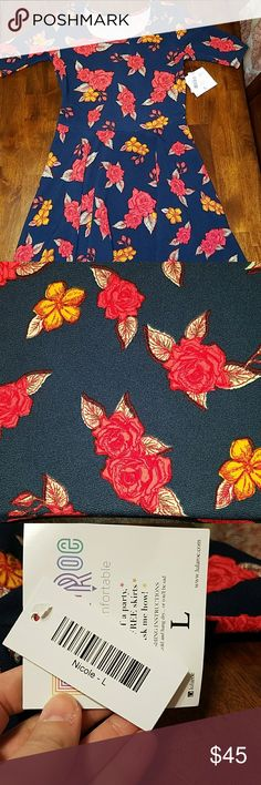 Lularoe Nicole -L This is a gorgeous navy blue Nicole with red roses and yellow accent flowers! NEW WITH TAGS! This is so beautiful, I'm sad it doesn't fit. LuLaRoe Dresses Midi