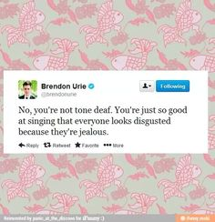 Brendon Urie is so sweet Emo Bands, Music Bands, Music Stuff, My Music, I Hate My Life, Music Memes, Brendon Urie, Panic! At The Disco, Paramore