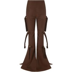 Onalaja Riam Trousers ($1,365) ❤ liked on Polyvore featuring pants, brown, highwaist pants, high-waist trousers, flared leg pants, brown pants and high rise trousers