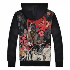 2fdcfa20 Chinese style Koi fish Embroidered hoodie with zipper for men winter black  thick fleece sweatshirts