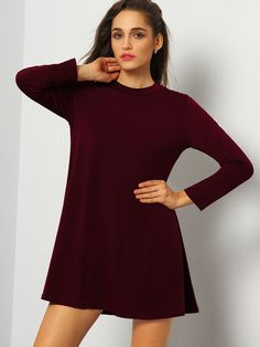 Fabric :Fabric is very stretchy Season :Fall Type :Dress Pattern Type :Plain Sleeve Length :Long Sleeve Color :Burgundy Dresses Length :Short Style :Basic Material :Jersey Neckline :High Neck Shoulder