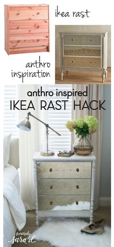 Anthro-Inspired IKEA Rast Hack- Majority of us love Anthropology but some of their items can be a tad expensive. Here's a tutorial turning a small Ikea dresser into a stunning piece of furniture, this is definitely worth the effort to create it. Ikea Furniture, Furniture Projects, Furniture Makeover, Home Projects, Furniture Removal, Office Furniture, Ikea Rast Dresser, Dressers, Ikea Decor
